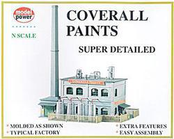 Model-Power Coverall Paints Factory Deluxe Building Kit N Scale Model Railroad Building #1566
