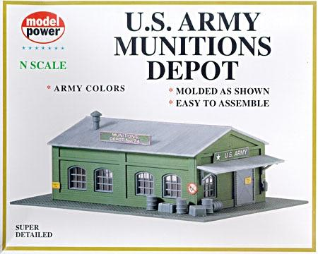 Model Power US Army Munitions Depot Kit -- N Scale Model Railroad Building -- #1574