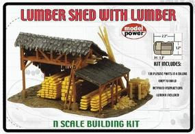 Model-Power Lumber Shed with Lumber N Scale Model Railroad Building #1580