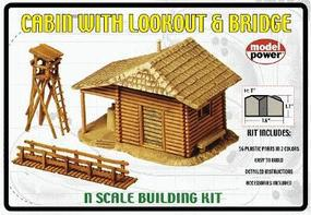 Model-Power Cabin with Lookout & Bridge Kit N Scale Model Railroad Building #1582