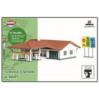 Model-Power Service Station/Mart Kit N Scale Model Railroad Building #1596