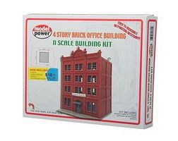 Model-Power 4-Story Brick Office Building Kit N Scale Model Railroad Building #1601