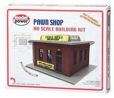 Model-Power Pawn Shop Kit HO Scale Model Railroad Building #201