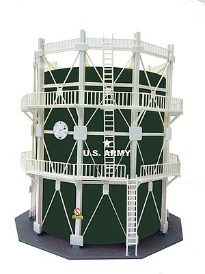 Model Power US ARMY Oil Storage Tank Large -- HO Scale Model Railroad Trackside Accessory -- #205