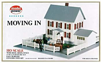 Model Power Moving In (2-Story House/Garage/Accy) Kit -- HO Scale Model Railroad Building -- #484