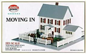 Model-Power Moving In (2-Story House/Garage/Accy) Kit HO Scale Model Railroad Building #484