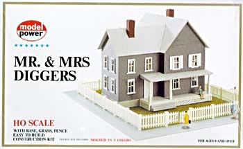 Model Power Mr. & Mrs. Diggers House Kit -- HO Scale Model Railroad Building -- #489