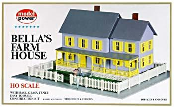 Model Power Bella's Farm House Kit -- HO Scale Model Railroad Building -- #490