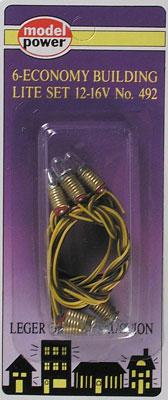 Model-Power Economy Building Lighting Set (6) Model Railroad Light Bulb #492