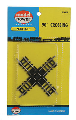 Model Power 90-Degree Crossing -- N Scale Nickel Silver Model Train Track -- #4959