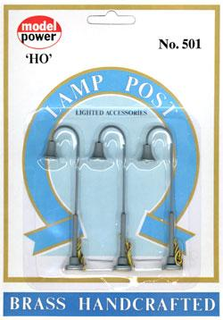 Model Power Goose Neck Lamps (3) -- HO Scale Model Railroad Operating Accessory -- #501