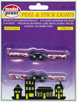 Model Power Peel/Stick Lights 12-16V (4) -- Model Railroad Light Bulb -- #510