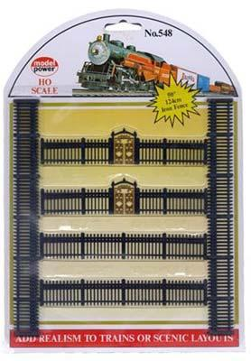 Model Power Iron Fences -- HO Scale Model Railroad Trackside Accessory -- #548