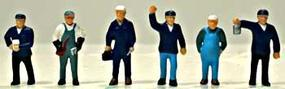 Model-Power Train Crew (6) HO Scale Model Railroad Figure #5704
