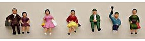 Model-Power Sitting People (7) HO Scale Model Railroad Figure #5706