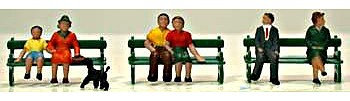 Model Power Sitting Figures with Bench (6) -- HO Scale Model Railroad Figure -- #5725