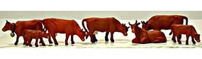 Model-Power Cows & Calves Brown (7) HO Scale Model Railroad Figure #5732