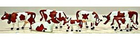 Model-Power Brown & White Cows (7) HO Scale Model Railroad Figure #5742