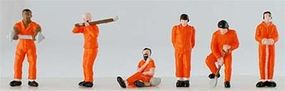 Model-Power Prisoners with Solid Orange Uniforms (6) HO Scale Model Railroad Figure #5784