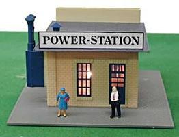 Model-Power Power Station Built-Up HO Scale Model Railroad Building #580