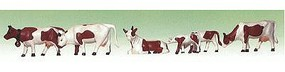 Model-Power Brown & White Cows & Calves O Scale Model Railroad Figure #6176