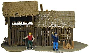 Model Power Old Storage Shed Built-Up with 2 Figures -- HO Scale Model Railroad Building -- #641