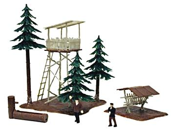 Model-Power Ranger Lookout with Trees Built-Up HO Scale Model Railroad Building #644