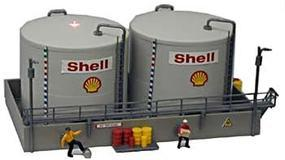 Model-Power HO B/U Twin Shell Oil Tanks, Lighted w/Figures
