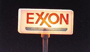 Model Power Exxon Gas Station Signs pkg(2) -- HO Scale Model Railroad Roadway Sign -- #705