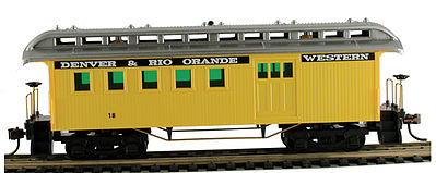 Model Power 1890 Wooden-Type Combine D&RGW (Re-Issue) -- HO Scale Model Train Passenger Car -- #720008