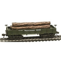Model-Power 1860 Wooden-Type Log Car Weyerhaeuser (Re-Issue) HO Scale Model Train Freight Car #724021