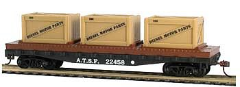 Model Power 40' Flat Car with Crates ATSF -- HO Scale Model Train Freight Car -- #727001