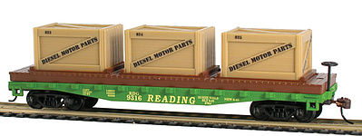 Model Power 40' Flat Car with Crates Reading -- HO Scale Model Train Freight Car -- #727002