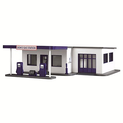 Model-Power Dons Gas Station Built-Up HO Scale Model Railroad Building #787