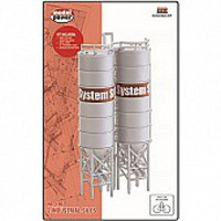 Model-Power 2 Industrial Silos Built-Up HO Scale Model Railroad Building #790