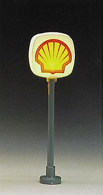 Model Power Shell Lighted Gas Station Signs (2 Pack) -- N Scale Model Railroad Building Accessory -- #8580