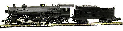 Model Power 2-8-2 Mikado with Tender Undecorated -- N Scale Model Train Steam Locomotive -- #875701