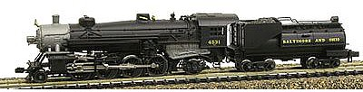 Model Power 2-8-2 Mikado w/Vandy Coal Tender B&O -- N Scale Model Train Steam Locomotive -- #87591