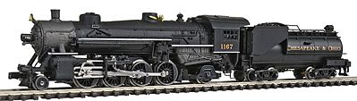 Model Power 2-8-2 Mikado w/Vanderbilt Tender Chesapeake & Ohio -- N Scale Model Train Steam Locomotive -- #87595