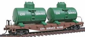 Model-Power 40 Flat with 2 Tanks Citi Service HO Scale Model Train Freight Car #98160