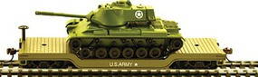 Model-Power US Army 40' Depressed Metal Flat w/Deco Tank HO