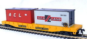 Model-Power 51 Heavy Weight Flat Car W/ 2 Santa Fe Containers HO Scale Model Train Freight Car #98303