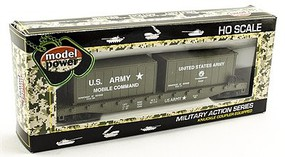 Model-Power 51 Flat Car w/ 2 20 Containers US Army HO Scale Model Railroad Freight Car #98309