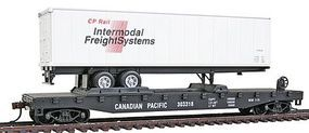 Model-Power 51 Heavyweight Flatcar w/40 Trailer Canadian Pacific HO Scale Model Train Freight Car #98354
