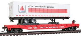 Model-Power 51 Heavyweight Flatcar w/40 Trailer Santa Fe HO Scale Model Train Freight Car #98360