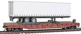 Model-Power 51 Heavyweight AT&SF Flatcar w/ 40 Trailer w/Operating Doors HO Scale Model Railroad #98362