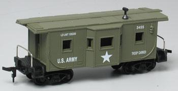 Model Power US Army Caboose #3455 -- HO Scale Model Train Freight Car -- #99165