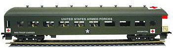 Model Power USA Hospital/Troop Carrier Observation Car -- HO Scale Model Train Passenger Car -- #99896