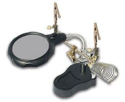 Magnifiers Lighted Helping-Hand Dual Magnifier Lamp 2-1/2'' Lens 4x & 3x Power w/Soldering Stand