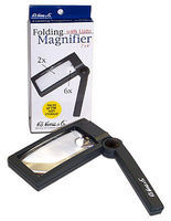 Magnifiers 2'' x 4'' Lighted Folding Magnifier 2x & 6x Power